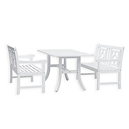 Vifah Bradley 3-Piece Outdoor Dining Set with Curved Leg in White