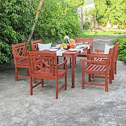 Vifah Malibu 7-Piece Outdoor Dining Set with Diamond Armchairs in Cherry