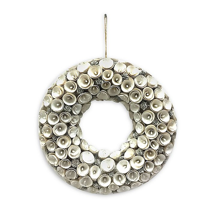 18-Inch Woodchip Artificial Christmas Wreath in Cream ...