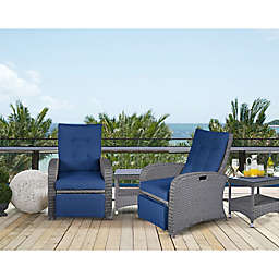 Relax-A-Lounger™ Clare Outdoor Recliners and Table Set in Navy