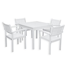 Vifah Bradley 5-Piece Outdoor Dining Set with Stacking Chairs in White