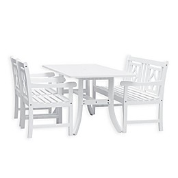 Vifah Bradley 4-Piece Curved Leg Outdoor Dining Set with Diamond Bench in White