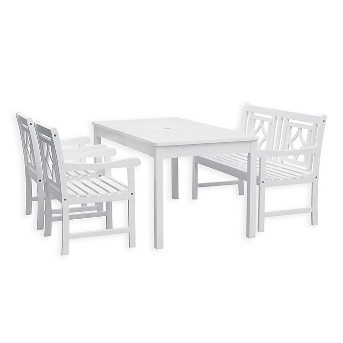 Vifah Bradley 4 Piece Outdoor Dining Set With Diamond Bench In White