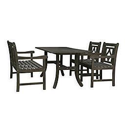 Vifah Renaissance 4-Piece Outdoor Dining Set with Diamond Bench in Vista Grey