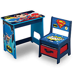 Delta Children DC Super Friends Kids Wood Desk and Chair Set in Blue