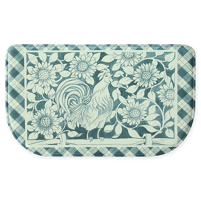 Bacova Rooster Picnic Memory Foam Slice Rug In Blue Bed