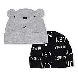 Gerber® Size 0-6M 2-Pack Bear Caps in Grey/Black