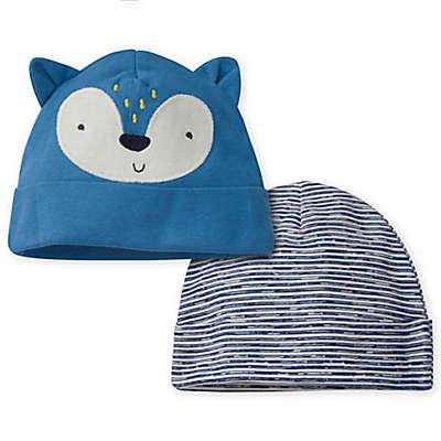 Gerber® Size 0-6M 2-Pack Fox Caps in Blue