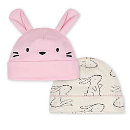 Gerber® Size 0-6M 2-Pack Bunny Caps in Pink/Ivory