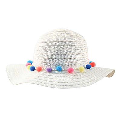 Addie & Tate Pom-Pom Floppy Hat in White