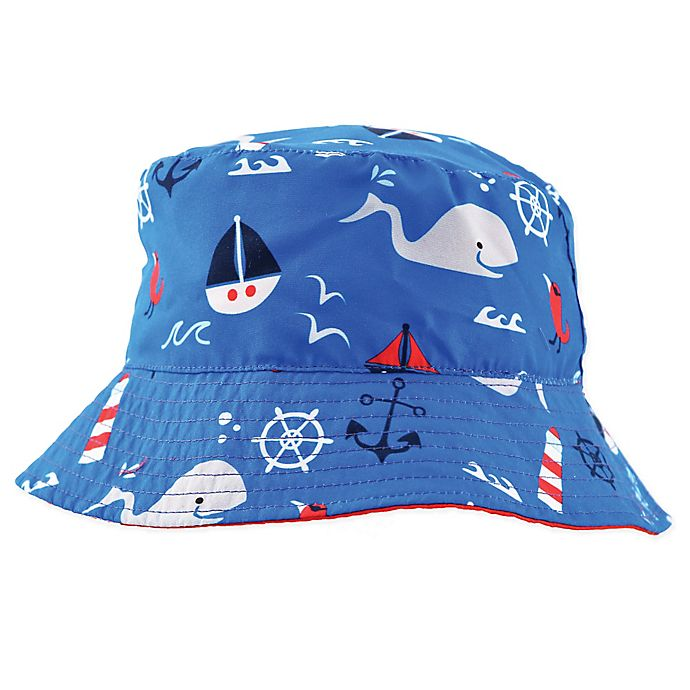 Alternate image 1 for Addie & Tate Whale Bucket Hat in Red/Blue