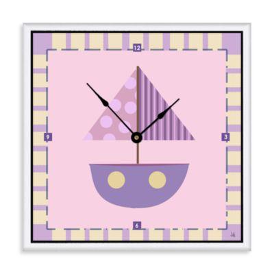 Green Leaf Art Purple Baby Boat Decorative Art Clock