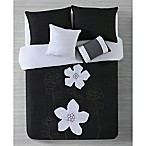 Rosella Reversible Full/Queen Comforter Set in Black