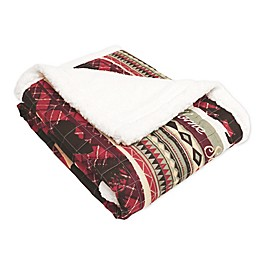 Lush Décor Holiday Lodge Sherpa Throw Blanket in Red