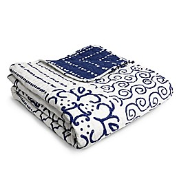 Lush Décor Monique Geometric Reversible Throw Blanket in Blue