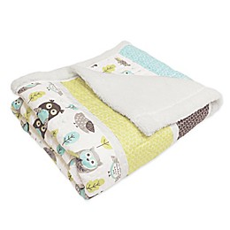 Lush Décor Owl Stripe Sherpa Throw Blanket