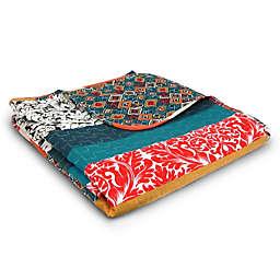 Lush Décor Bohemian Stripe Reversible Throw Blanket in Turquoise