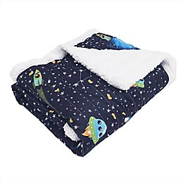 Lush Décor Universe Sherpa Throw Blanket in Navy