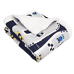 Lush Décor Car Tracks Sherpa Throw Blanket in Navy