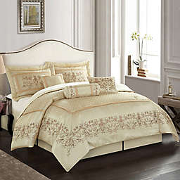 Nanshing Vivian 7-Piece Full Comforter Set in Beige