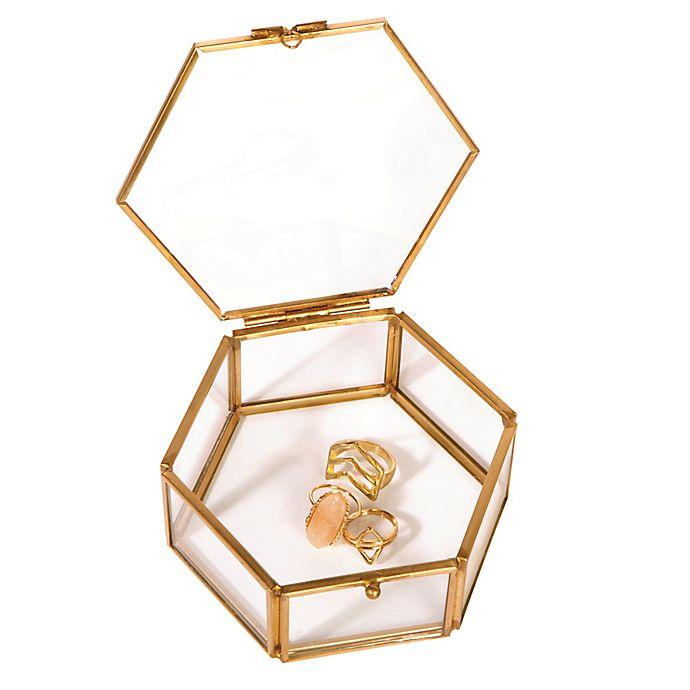 Alternate image 1 for Home Details Small Mirrored Bottom Hexagon Keepsake Box in Gold