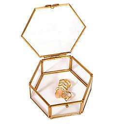 Home Details Small Mirrored Bottom Hexagon Keepsake Box in Gold