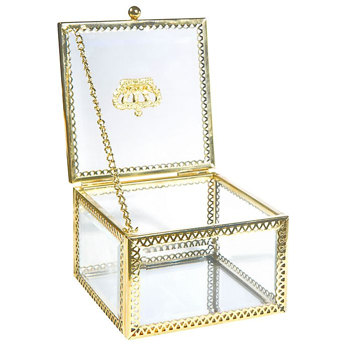 Alternate image 1 for Home Details Small Square Beveled Glass Jewelry Box in Gold
