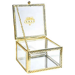 Home Details Small Square Beveled Glass Jewelry Box in Gold