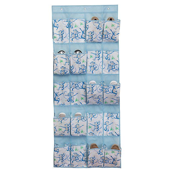 Alternate image 1 for Laura Ashley® Kids 16-Pocket Hanging Shoe Organizer in Pool Blue