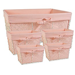 Design Imports Farmhouse Chicken Wire Baskets in Blush (Set of 5)