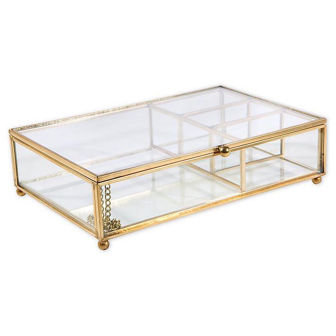 Copper 3 Tier Dresser Top Jewelry Storage Organizer Vintage Clear Glass /& Brass Metal 3 Drawer Display Box