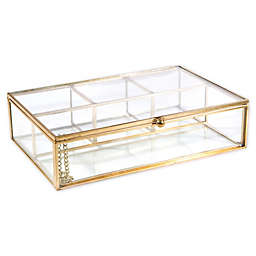 Home Details Rectangular 4-Compartment Keepsake Box In Gold