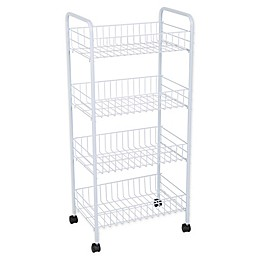 Simplify 4-Tier Rolling Storage Cart in White