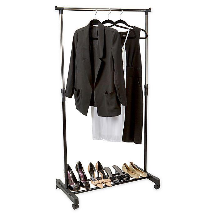 Alternate image 1 for Simplify Adjustable-Height Rolling Garment Rack in Black