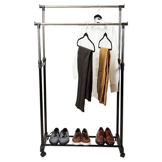 Alternate image 1 for Simplify Adjustable-Height Rolling Double-Tier Garment Rack in Black
