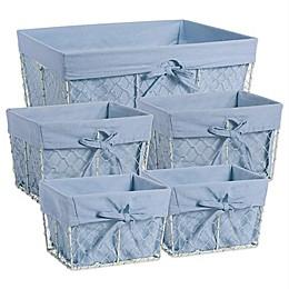 Design Imports Farmhouse Chicken Wire Baskets in Blue Denim (Set of 5)