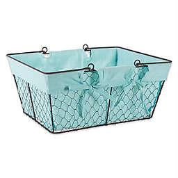 Design Imports 12-Inch x 11.5-Inch Farmhouse Chicken Wire Basket in Aqua