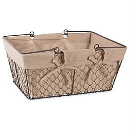 Design Imports 16-Inch x 12-Inch Farmhouse Chicken Wire Basket in Natural