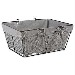 Design Imports 17.73-Inch x 6.7-Inch Farmhouse Chicken Wire Basket in Grey Stripe