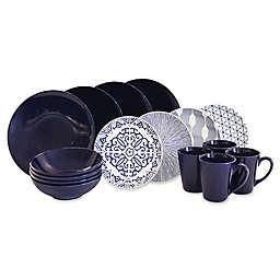 Baum Brothers 16-Piece Dinnerware Set in Blue/White