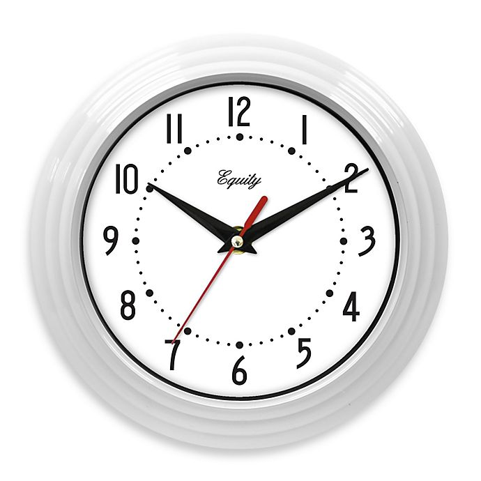 Alternate image 1 for Equity by La Crosse White Ribbed Equity Analog Wall Clock