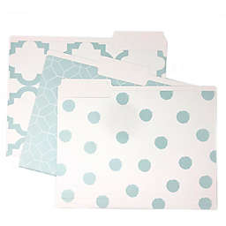 Printed File Folders in Teal (Set of 9)