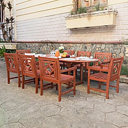Vifah Malibu 9-Piece Outdoor Expandable Dining Set in Cherry