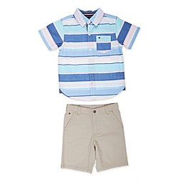 Tommy Hilfiger® 2-Piece Pastel Woven Shirt and Short Set