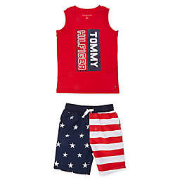 Tommy Hilfiger® American Flag Shirt and Swim Shorts Set in Red/White/Blue
