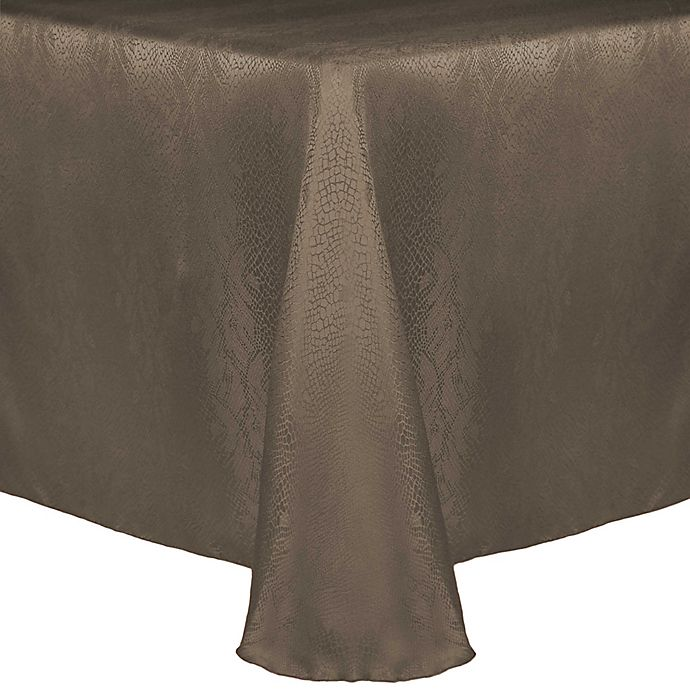 Alternate image 1 for Kenya Damask 60-Inch x 108-Inch Oblong Tablecloth in Beige