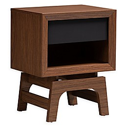 Baxton Studio Kinley 1-Drawer Wood Nightstand in Walnut/Grey