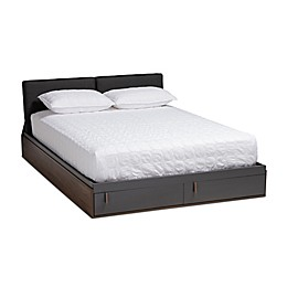 Baxton Studio Charis Queen Storage Platform Bed in Grey/Walnut