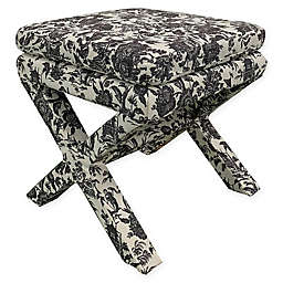 One Kings Lane Open House™ Valerie Pillow-Top Ottoman in Onyx Toile
