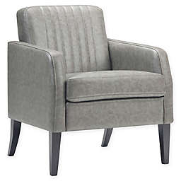 Simpli Home™ Faux Leather Upholstered Crawford Chair in Taupe